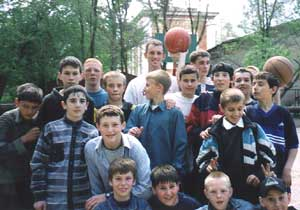 Sharing the Love of Christ playing basketball at a Russian school